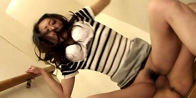 chick gets hard bang from behind in her hairy pussy