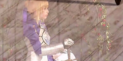 cosplay fsn saber enjoys creampie after being fingered by sh