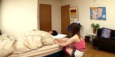 asian girlfriend tugging cock with sleeve