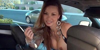francine dee strips in car big boobs