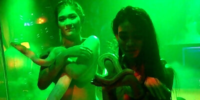 cute asian girls with big snake