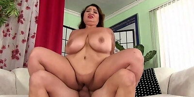 giant boobed thick asian takes cock