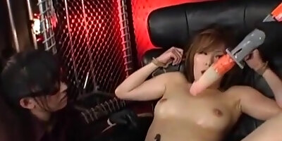 sexy asian girl tied to chair with rope and teased with multiple sex toys