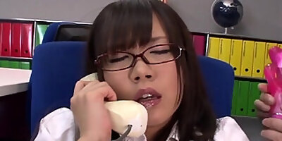 mikuru getting her office pussy toy fucked so good