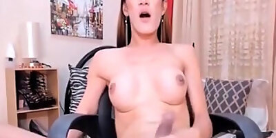 hot asian shemale stroking her cock on cam